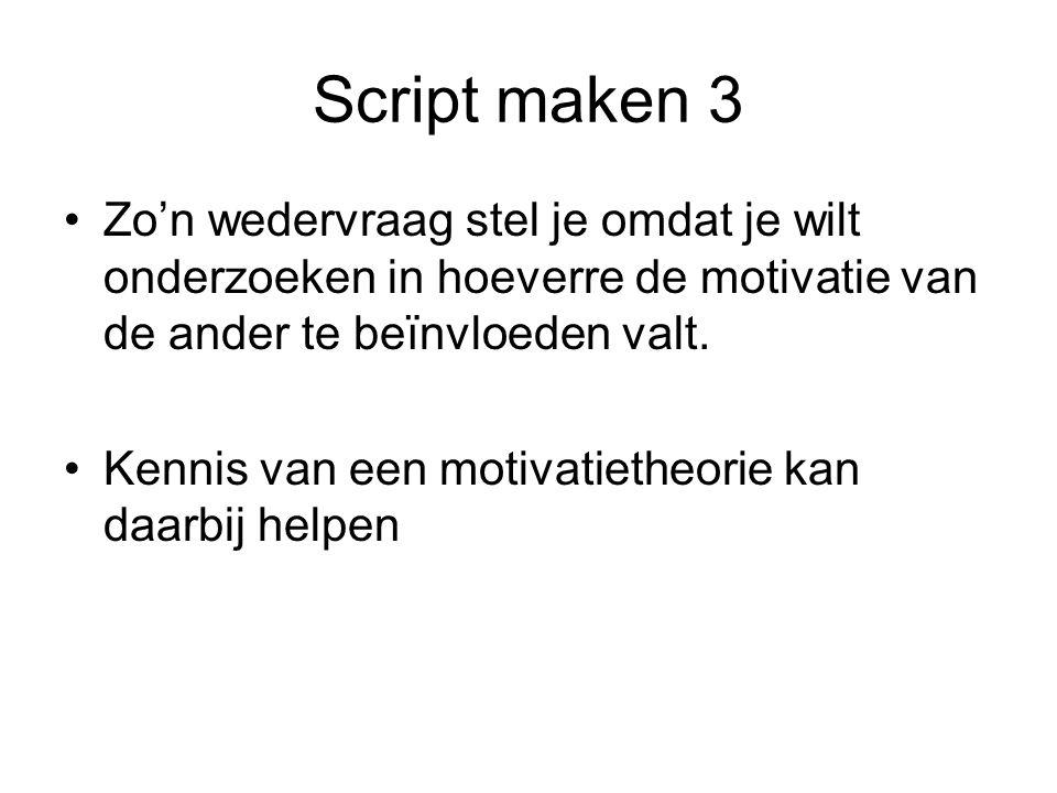 Script maken 3 Zo'n wedervraag stel je omdat je wilt onderzoeken in hoeverre de motivatie van de ander te beïnvloeden valt. Kennis van een motivatieth