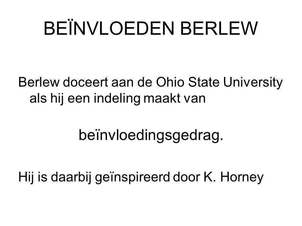 BEÏNVLOEDEN BERLEW Berlew doceert aan de Ohio State University als hij een indeling maakt van beïnvloedingsgedrag. Hij is daarbij geïnspireerd door K.