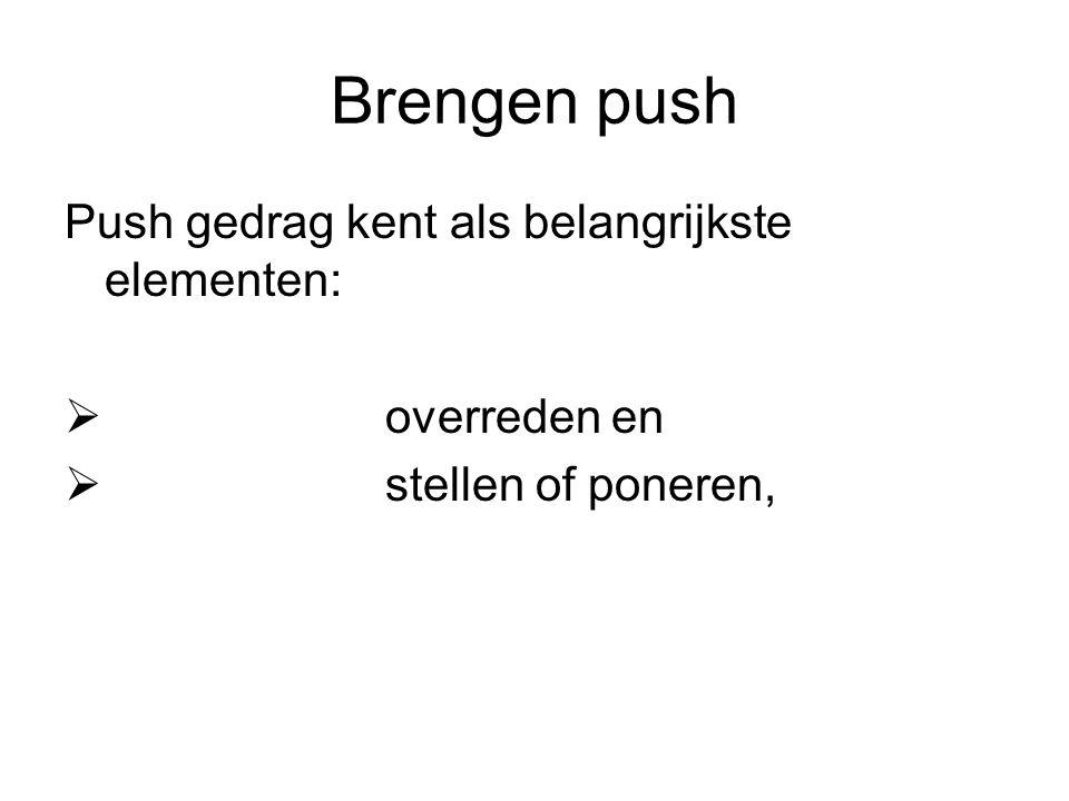 Brengen push Push gedrag kent als belangrijkste elementen:  overreden en  stellen of poneren,