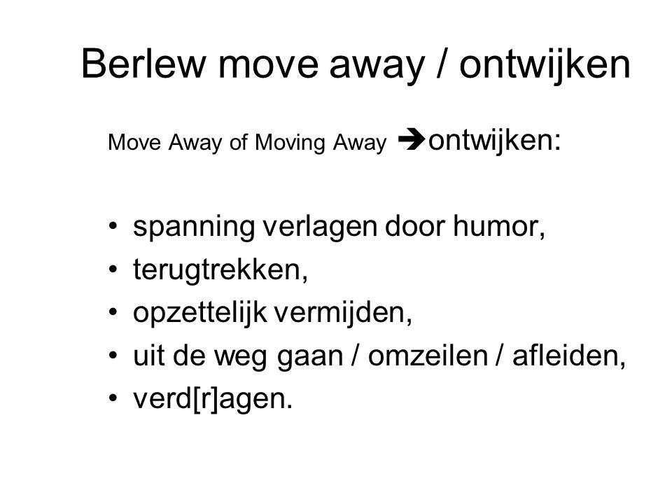 Berlew move away / ontwijken Move Away of Moving Away  ontwijken: spanning verlagen door humor, terugtrekken, opzettelijk vermijden, uit de weg gaan