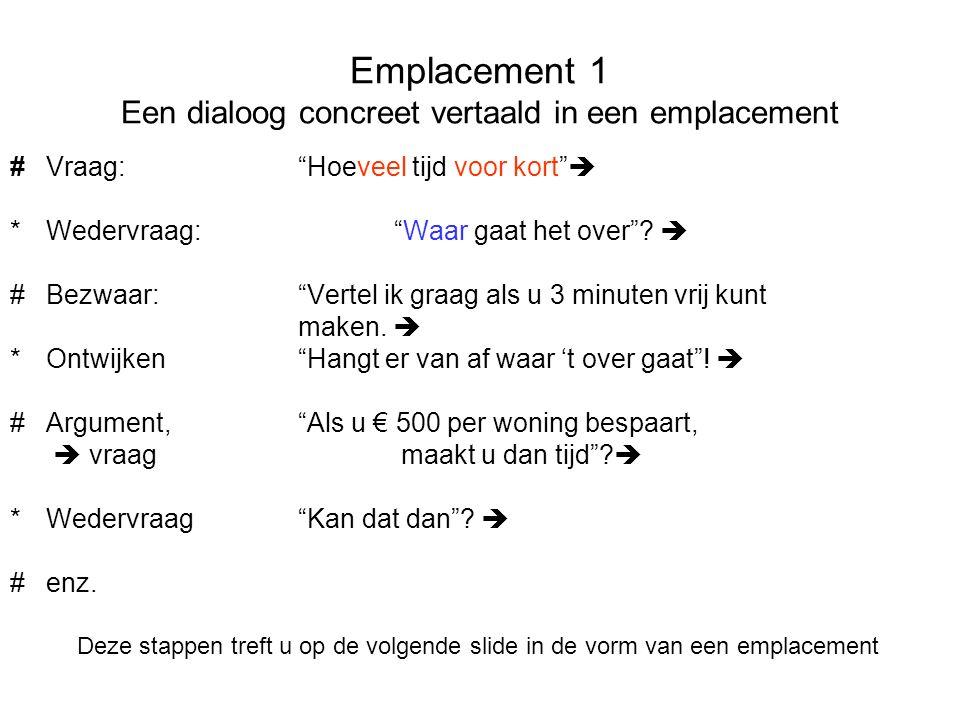 """Emplacement 1 Een dialoog concreet vertaald in een emplacement #Vraag: """"Hoeveel tijd voor kort""""  *Wedervraag: """"Waar gaat het over""""?  #Bezwaar:""""Verte"""