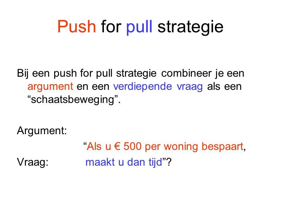 """Push for pull strategie Bij een push for pull strategie combineer je een argument en een verdiepende vraag als een """"schaatsbeweging"""". Argument: """"Als u"""