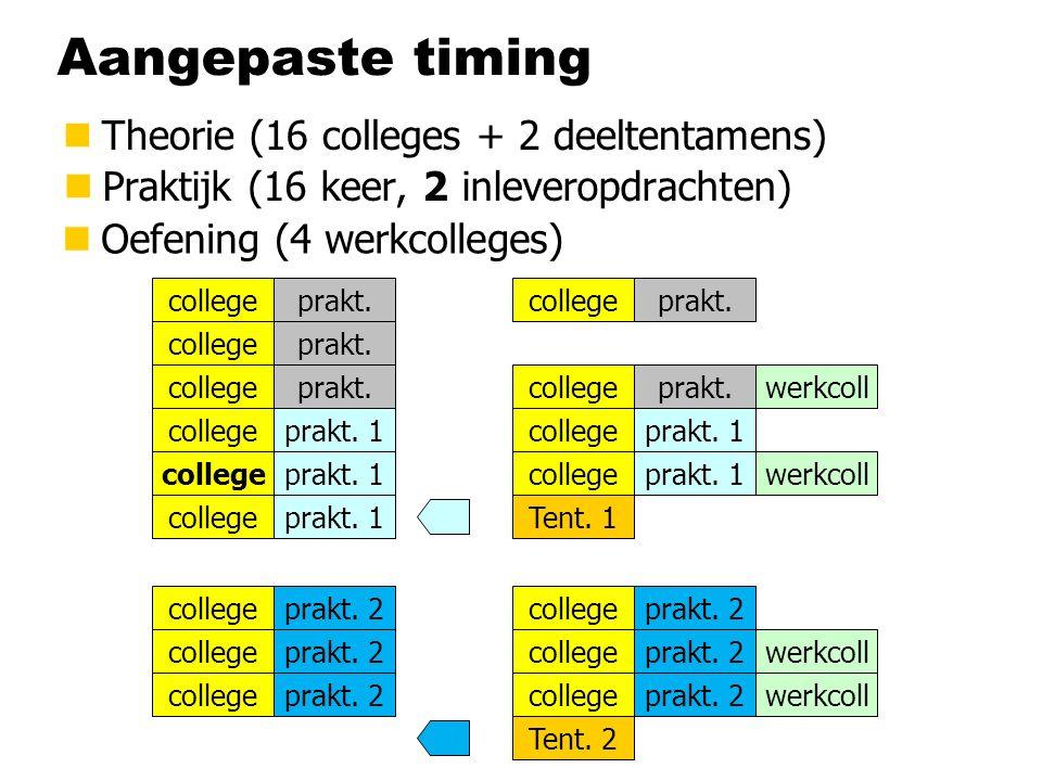 Aangepaste timing nTheorie (16 colleges + 2 deeltentamens) nPraktijk (16 keer, 2 inleveropdrachten) college Tent.