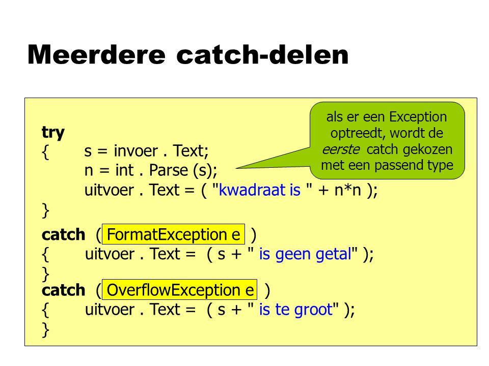 Meerdere catch-delen s = invoer.Text; n = int. Parse (s); uitvoer.