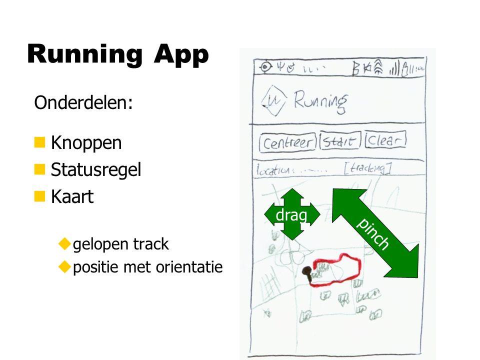 Running App n Knoppen n Statusregel n Kaart ugelopen track upositie met orientatie Onderdelen: drag pinch