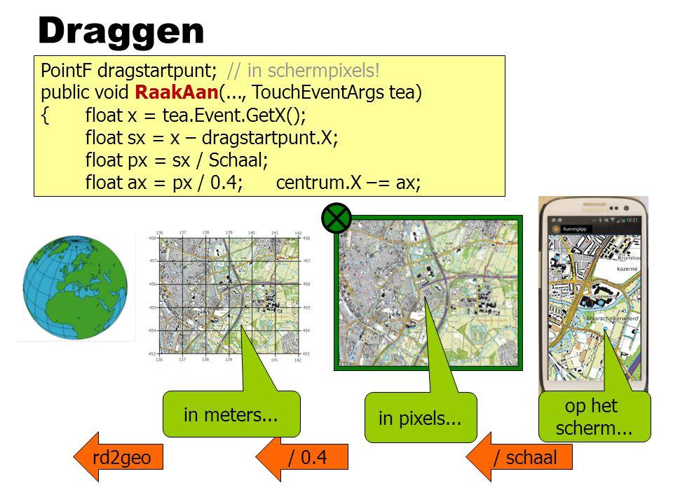Draggen rd2geo/ 0.4/ schaal public void RaakAan(..., TouchEventArgs tea) { op het scherm... float x = tea.Event.GetX(); float sx = x – dragstartpunt.X