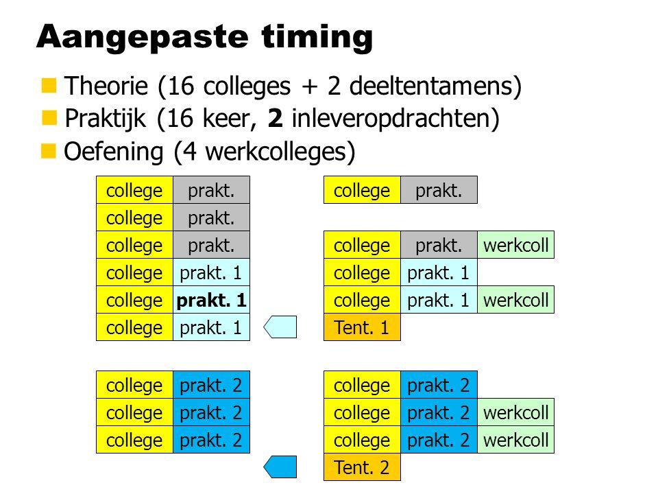 Aangepaste timing nTheorie (16 colleges + 2 deeltentamens) nPraktijk (16 keer, 2 inleveropdrachten) college Tent. 1 Tent. 2 college prakt. 1 prakt. 2