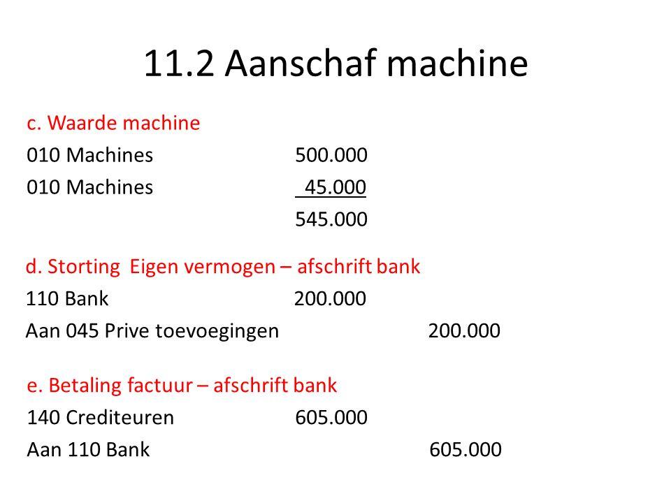 11.2 Aanschaf machine c. Waarde machine 010 Machines500.000 010 Machines 45.000 545.000 d.
