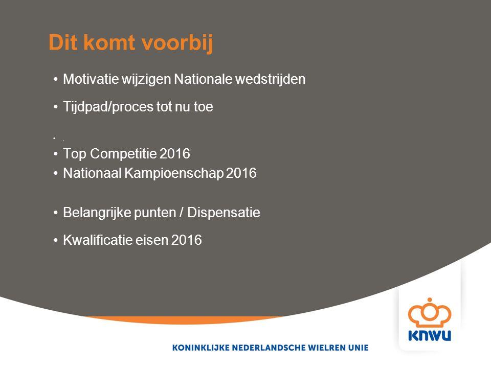 Motivatie wijzigen Nationale wedstrijden Tijdpad/proces tot nu toe. Top Competitie 2016 Nationaal Kampioenschap 2016 Belangrijke punten / Dispensatie