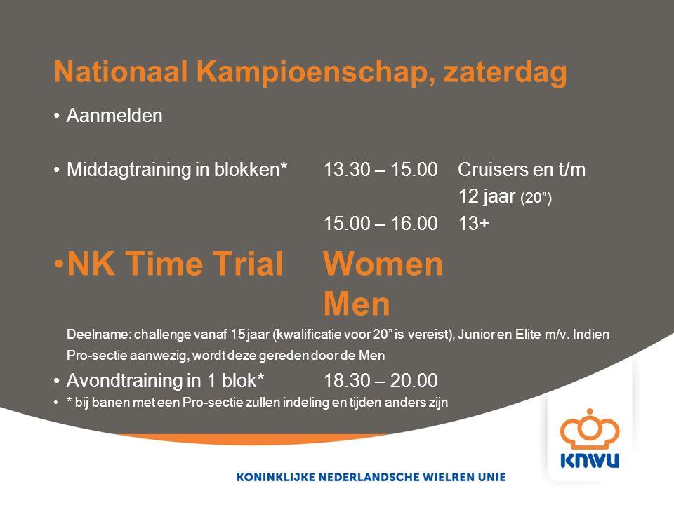 """Nationaal Kampioenschap, zaterdag Aanmelden Middagtraining in blokken*13.30 – 15.00Cruisers en t/m 12 jaar (20"""") 15.00 – 16.00 13+ NK Time Trial Women"""