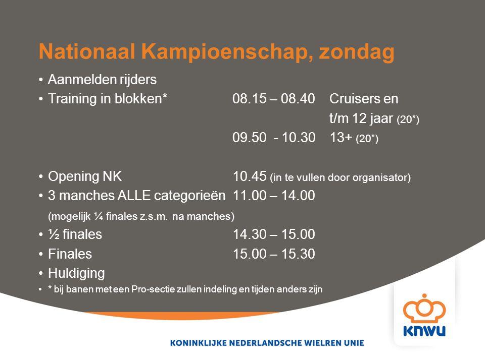 """Nationaal Kampioenschap, zondag Aanmelden rijders Training in blokken*08.15 – 08.40 Cruisers en t/m 12 jaar (20"""") 09.50 - 10.3013+ (20"""") Opening NK 10"""