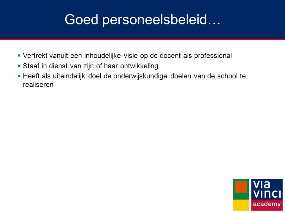 Goed personeelsbeleid…  Vertrekt vanuit een inhoudelijke visie op de docent als professional  Staat in dienst van zijn of haar ontwikkeling  Heeft