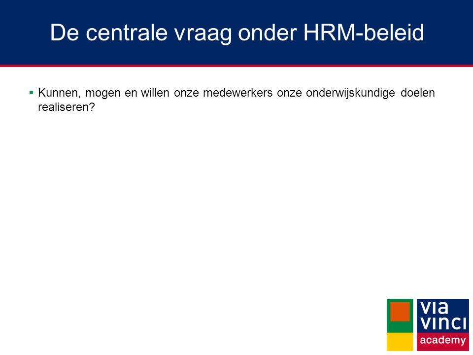 De centrale vraag onder HRM-beleid  Kunnen, mogen en willen onze medewerkers onze onderwijskundige doelen realiseren?