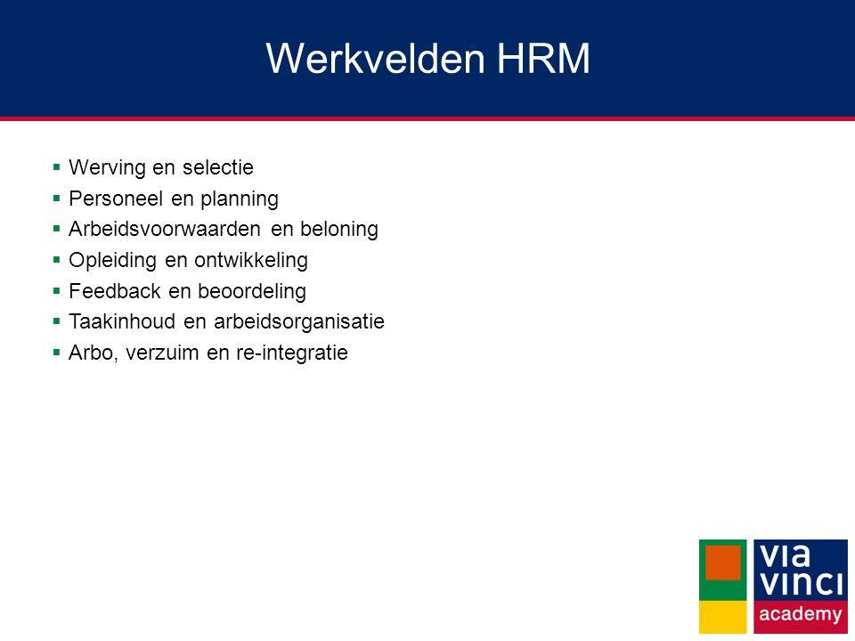 Werkvelden HRM  Werving en selectie  Personeel en planning  Arbeidsvoorwaarden en beloning  Opleiding en ontwikkeling  Feedback en beoordeling 