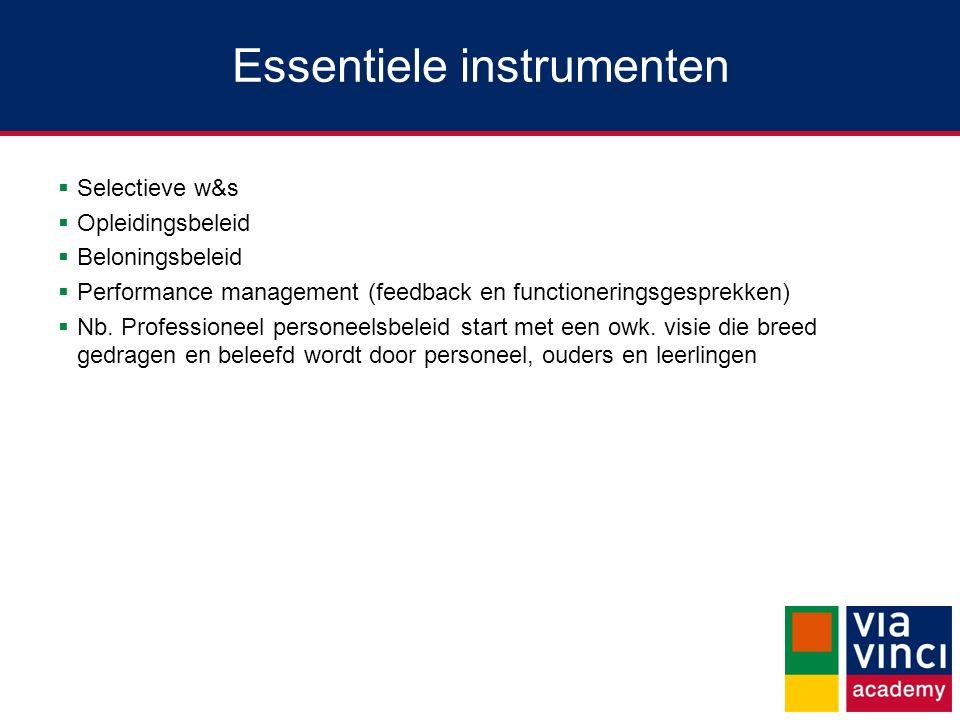 Essentiele instrumenten  Selectieve w&s  Opleidingsbeleid  Beloningsbeleid  Performance management (feedback en functioneringsgesprekken)  Nb. Pr