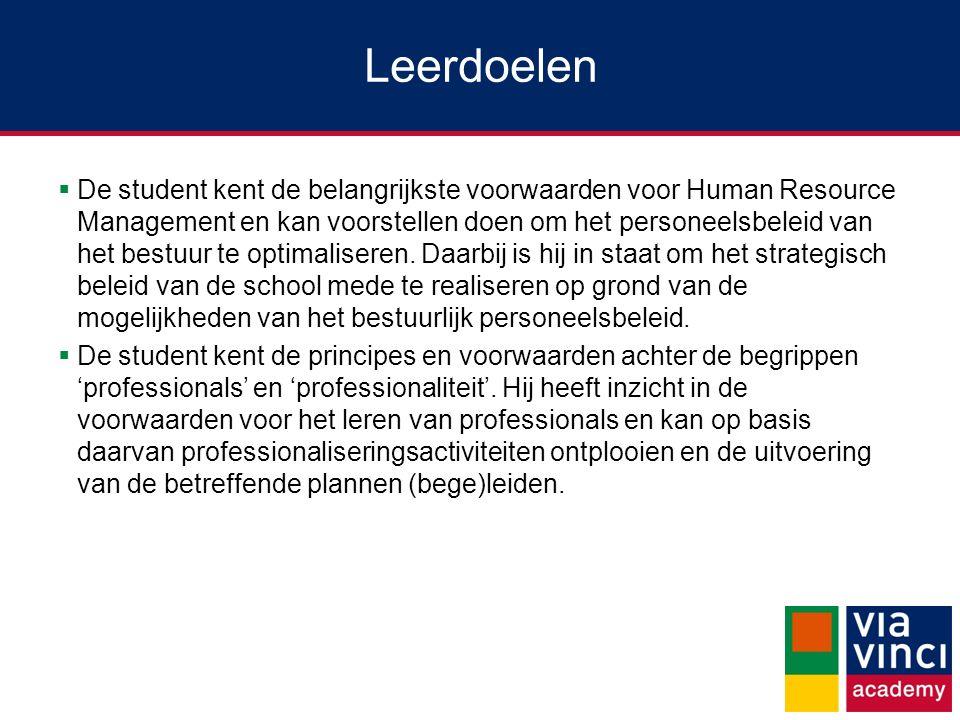 Leerdoelen  De student kent de belangrijkste voorwaarden voor Human Resource Management en kan voorstellen doen om het personeelsbeleid van het bestu