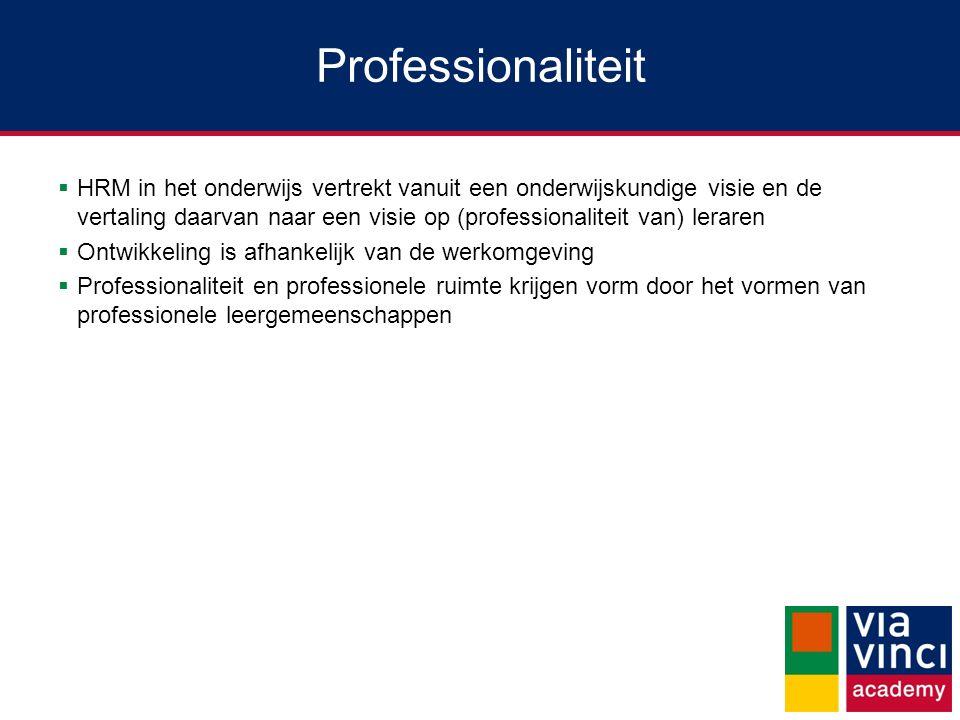 Professionaliteit  HRM in het onderwijs vertrekt vanuit een onderwijskundige visie en de vertaling daarvan naar een visie op (professionaliteit van)