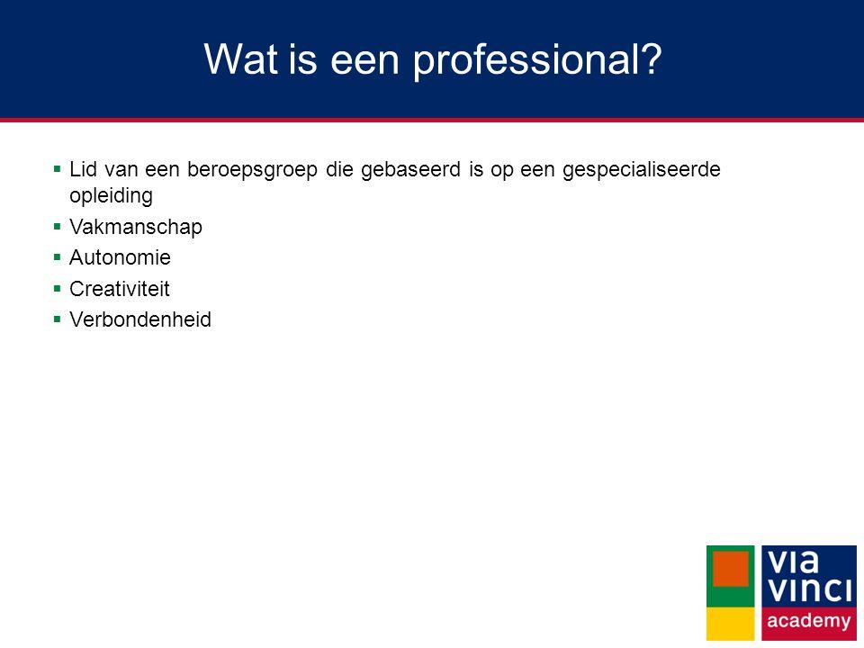 Wat is een professional?  Lid van een beroepsgroep die gebaseerd is op een gespecialiseerde opleiding  Vakmanschap  Autonomie  Creativiteit  Verb