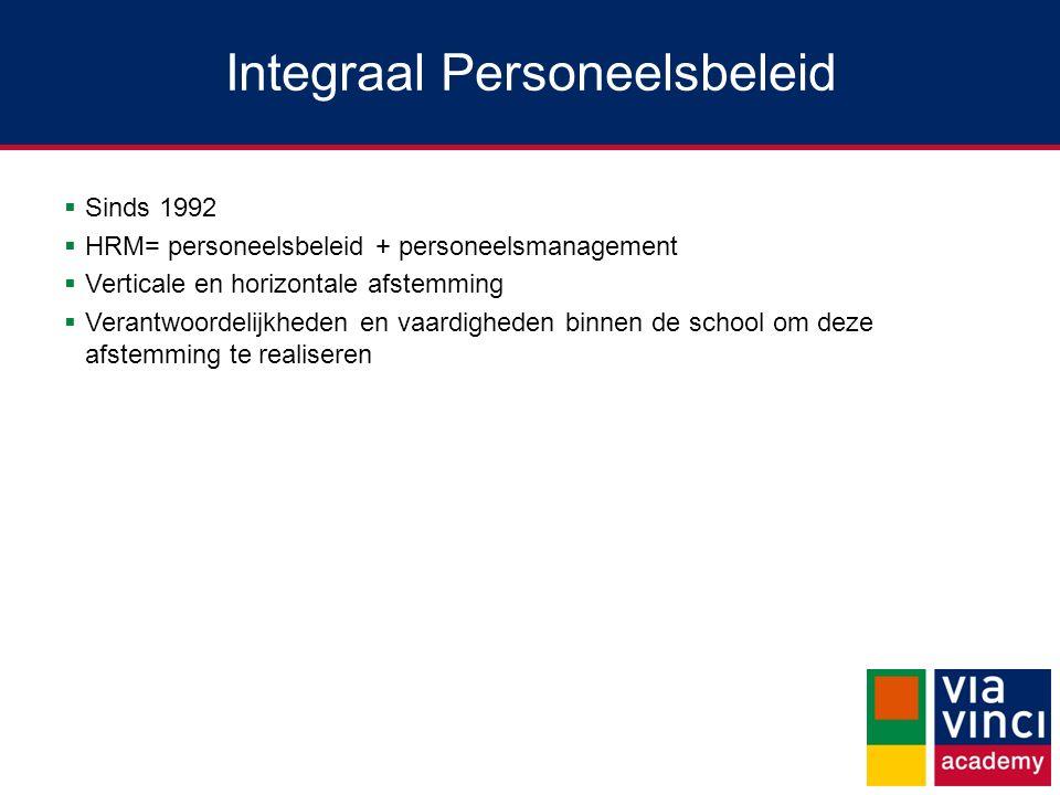 Integraal Personeelsbeleid  Sinds 1992  HRM= personeelsbeleid + personeelsmanagement  Verticale en horizontale afstemming  Verantwoordelijkheden e