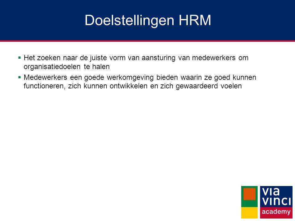 Doelstellingen HRM  Het zoeken naar de juiste vorm van aansturing van medewerkers om organisatiedoelen te halen  Medewerkers een goede werkomgeving