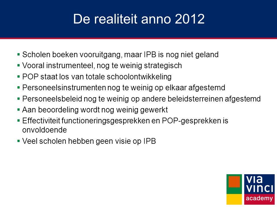 De realiteit anno 2012  Scholen boeken vooruitgang, maar IPB is nog niet geland  Vooral instrumenteel, nog te weinig strategisch  POP staat los van