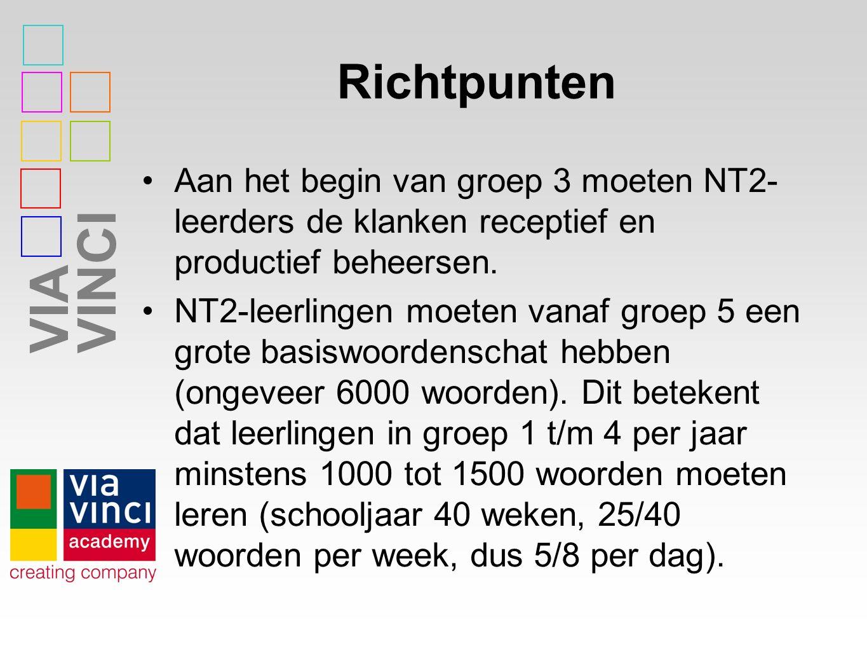 VIAVINCI Richtpunten Aan het begin van groep 3 moeten NT2- leerders de klanken receptief en productief beheersen. NT2-leerlingen moeten vanaf groep 5