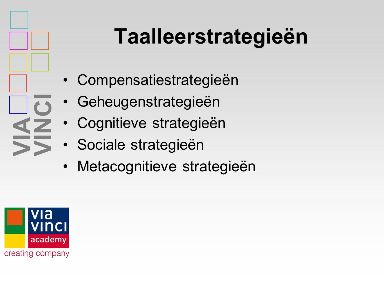 VIAVINCI Taalleerstrategieën Compensatiestrategieën Geheugenstrategieën Cognitieve strategieën Sociale strategieën Metacognitieve strategieën
