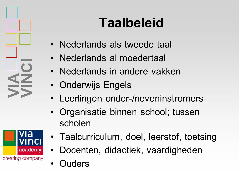 VIAVINCI Taalbeleid Nederlands als tweede taal Nederlands al moedertaal Nederlands in andere vakken Onderwijs Engels Leerlingen onder-/neveninstromers