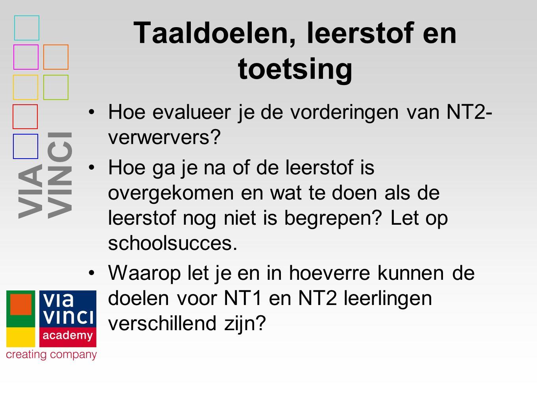VIAVINCI Taaldoelen, leerstof en toetsing Hoe evalueer je de vorderingen van NT2- verwervers? Hoe ga je na of de leerstof is overgekomen en wat te doe