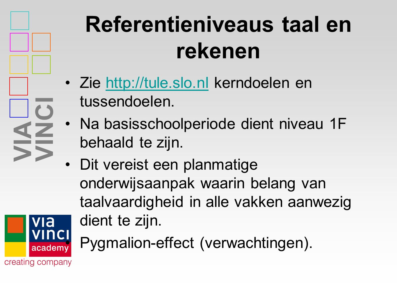 VIAVINCI Referentieniveaus taal en rekenen Zie http://tule.slo.nl kerndoelen en tussendoelen.http://tule.slo.nl Na basisschoolperiode dient niveau 1F behaald te zijn.