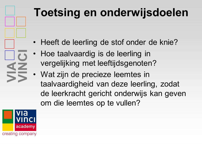 VIAVINCI Taalbeleid Nederlands als tweede taal Nederlands al moedertaal Nederlands in andere vakken Onderwijs Engels Leerlingen onder-/neveninstromers Organisatie binnen school; tussen scholen Taalcurriculum, doel, leerstof, toetsing Docenten, didactiek, vaardigheden Ouders