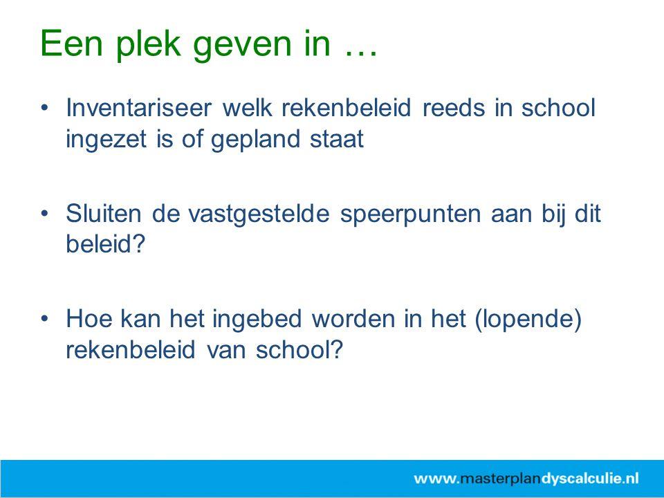 Inventariseer welk rekenbeleid reeds in school ingezet is of gepland staat Sluiten de vastgestelde speerpunten aan bij dit beleid? Hoe kan het ingebed