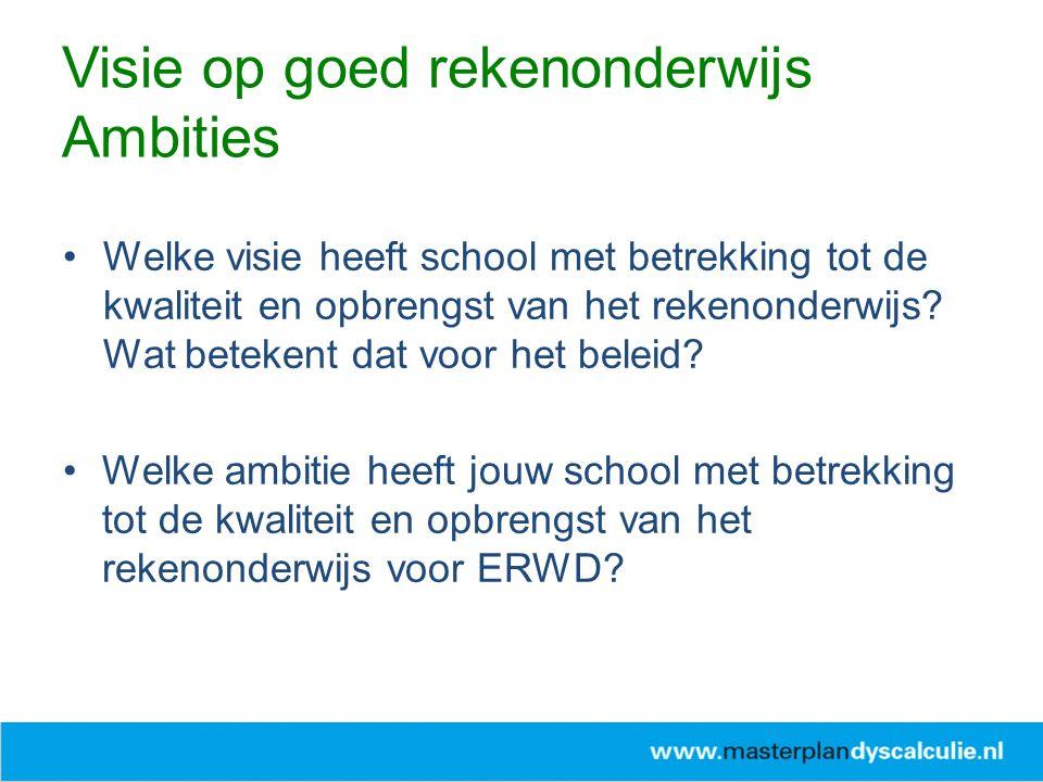 Welke visie heeft school met betrekking tot de kwaliteit en opbrengst van het rekenonderwijs? Wat betekent dat voor het beleid? Welke ambitie heeft jo