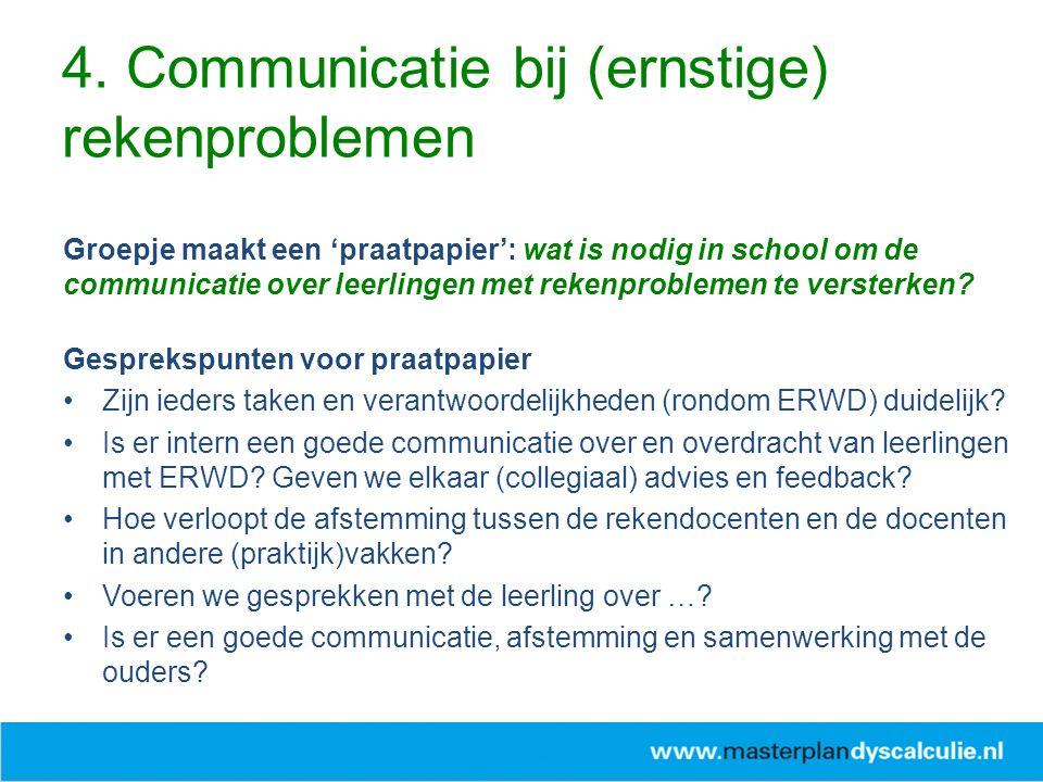 Groepje maakt een 'praatpapier': wat is nodig in school om de communicatie over leerlingen met rekenproblemen te versterken? Gesprekspunten voor praat