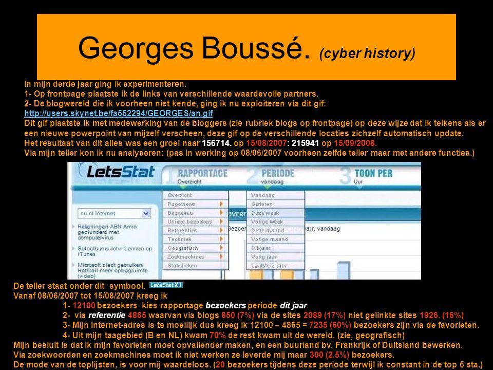 Georges Boussé. (cyber history) In mijn derde jaar ging ik experimenteren. 1- Op frontpage plaatste ik de links van verschillende waardevolle partners