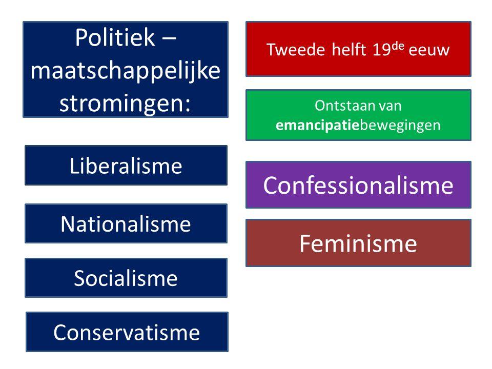 Liberalisme Nationalisme Socialisme Conservatisme Politiek – maatschappelijke stromingen: Tweede helft 19 de eeuw Ontstaan van emancipatiebewegingen Confessionalisme Feminisme