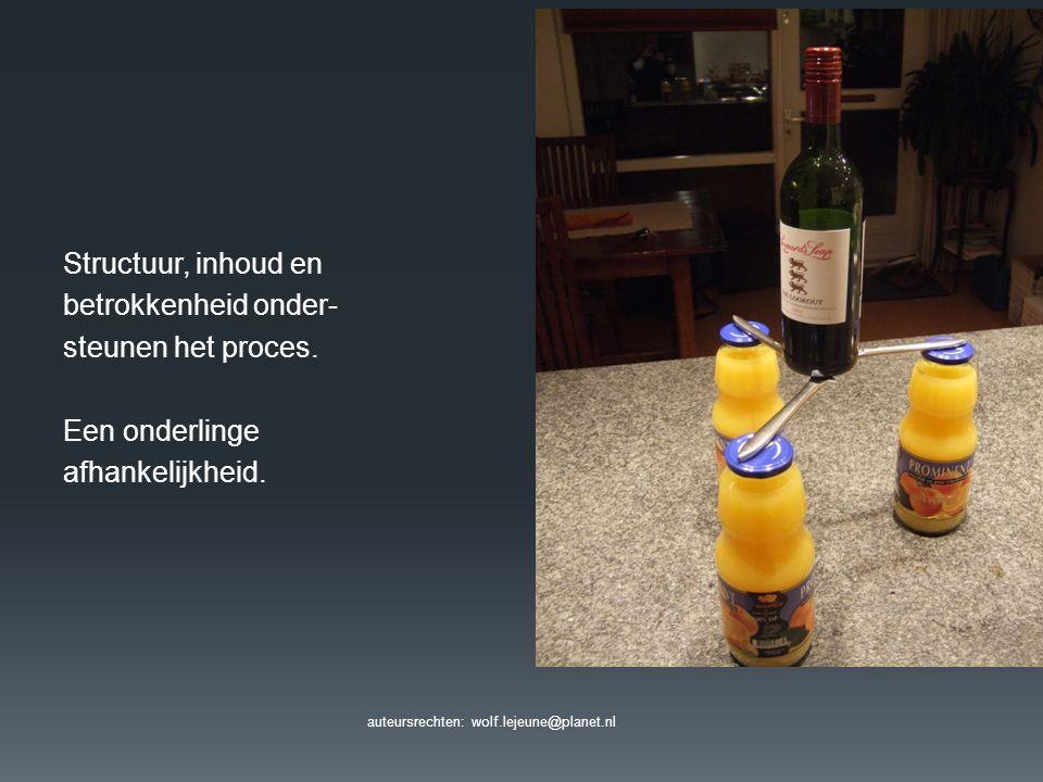 auteursrechten: wolf.lejeune@planet.nl Structuur, inhoud en betrokkenheid onder- steunen het proces. Een onderlinge afhankelijkheid.