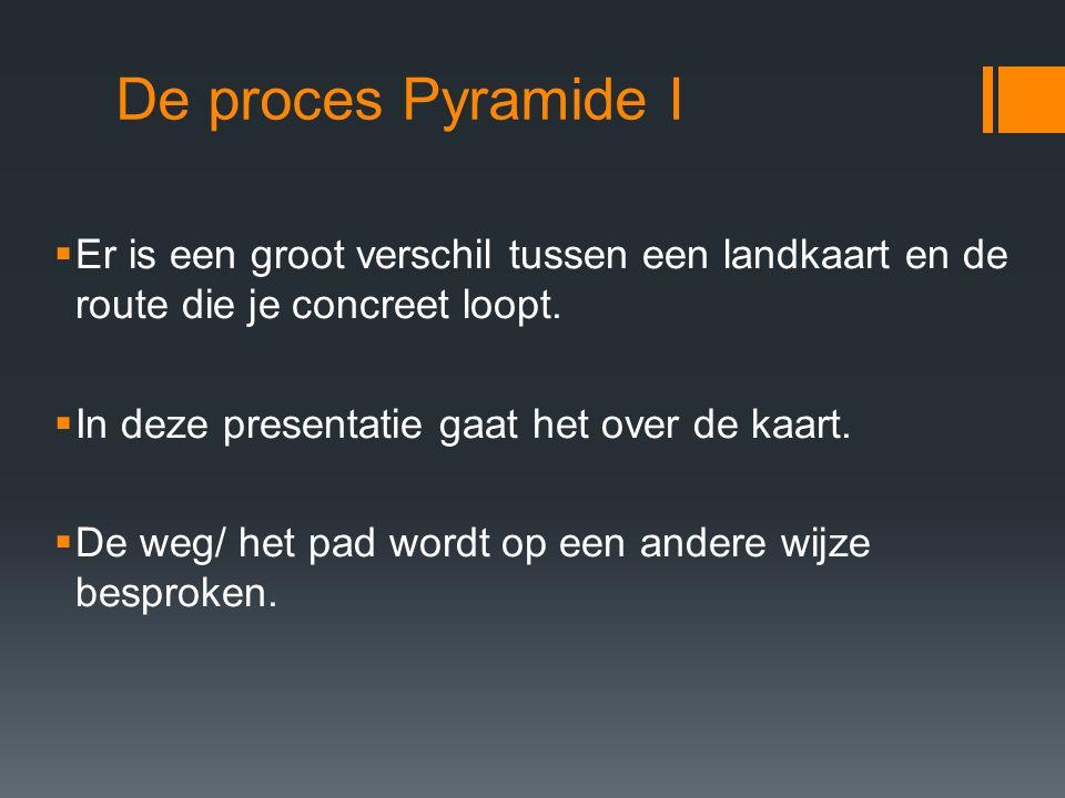 De proces Pyramide I  Er is een groot verschil tussen een landkaart en de route die je concreet loopt.  In deze presentatie gaat het over de kaart.