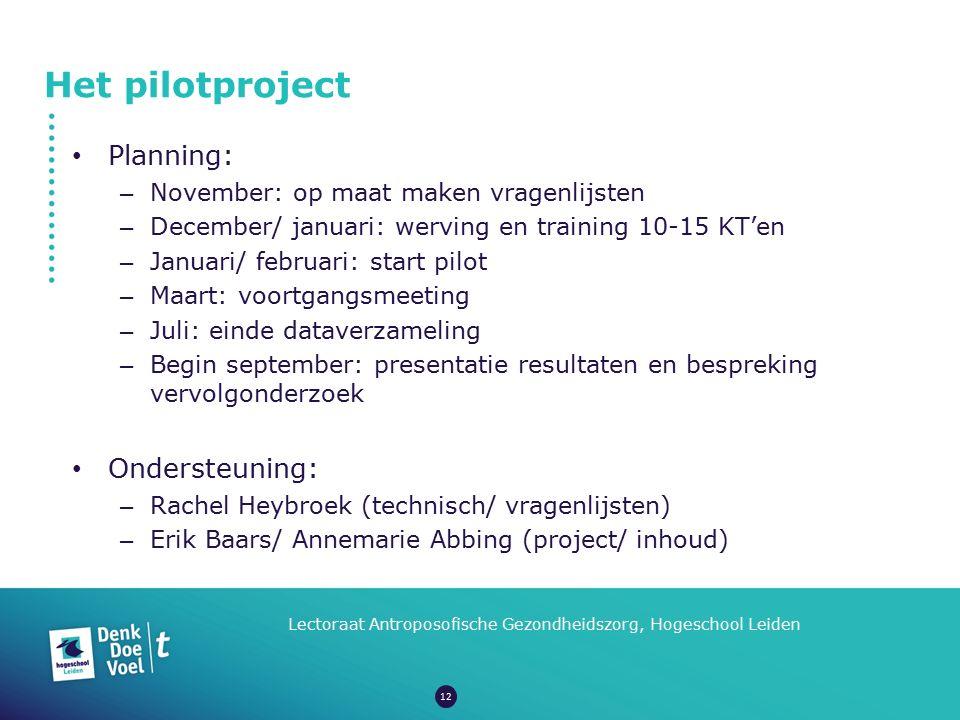 Het pilotproject Lectoraat Antroposofische Gezondheidszorg, Hogeschool Leiden Planning: – November: op maat maken vragenlijsten – December/ januari: w