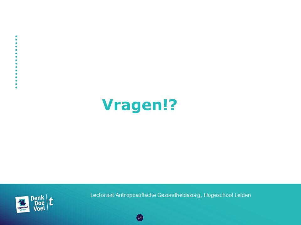 Vragen!? Lectoraat Antroposofische Gezondheidszorg, Hogeschool Leiden 14