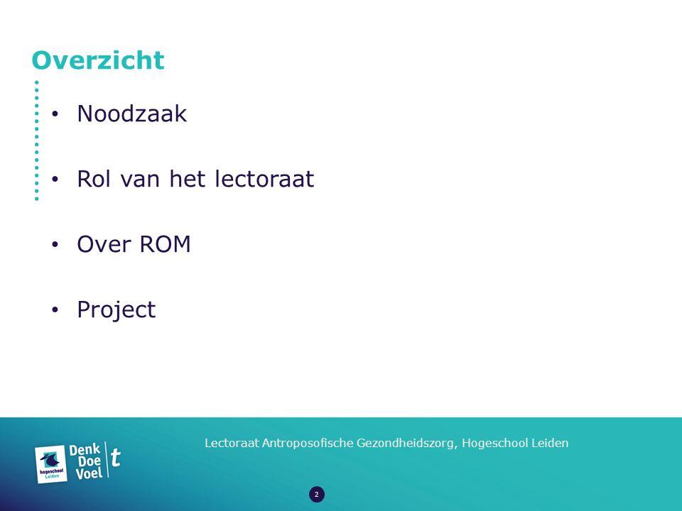 Overzicht Lectoraat Antroposofische Gezondheidszorg, Hogeschool Leiden Noodzaak Rol van het lectoraat Over ROM Project 2