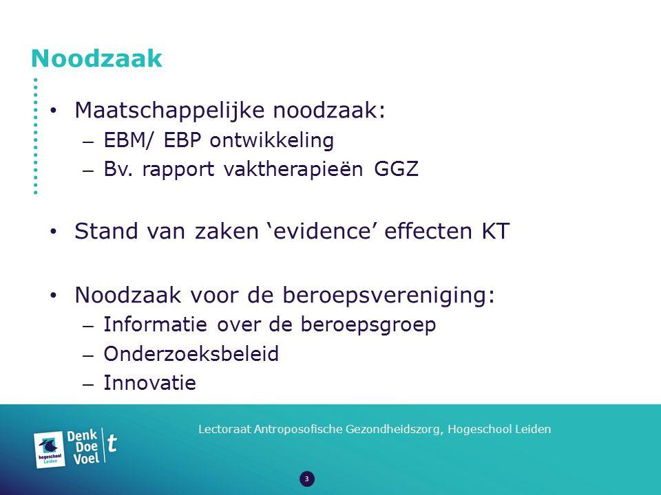 Noodzaak Lectoraat Antroposofische Gezondheidszorg, Hogeschool Leiden Maatschappelijke noodzaak: – EBM/ EBP ontwikkeling – Bv. rapport vaktherapieën G