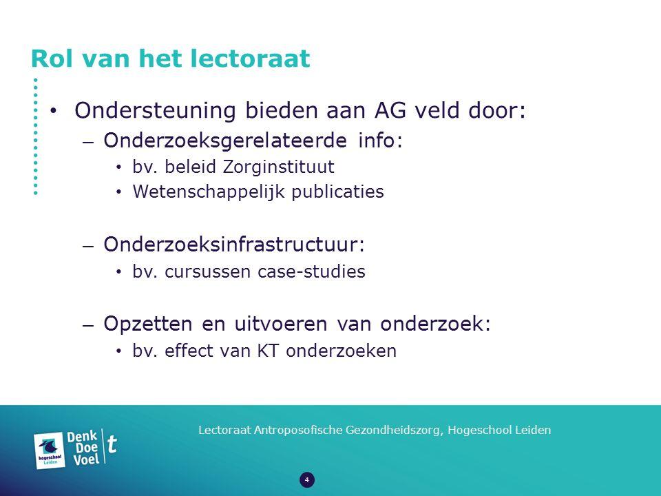 Rol van het lectoraat Lectoraat Antroposofische Gezondheidszorg, Hogeschool Leiden Ondersteuning bieden aan AG veld door: – Onderzoeksgerelateerde inf