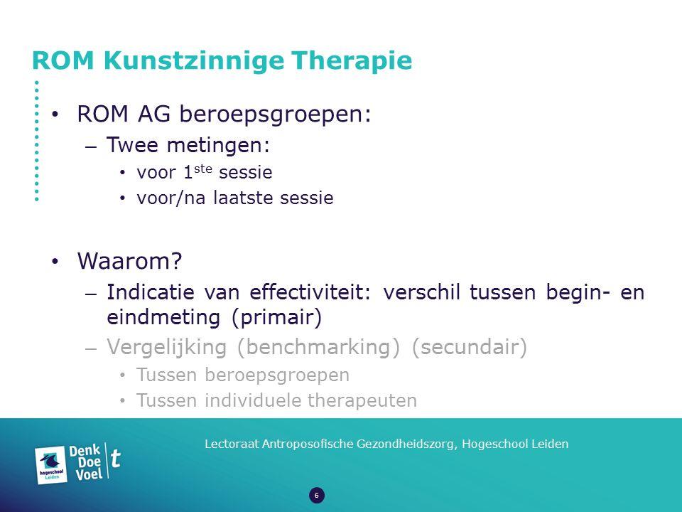 ROM Kunstzinnige Therapie Lectoraat Antroposofische Gezondheidszorg, Hogeschool Leiden ROM AG beroepsgroepen: – Twee metingen: voor 1 ste sessie voor/