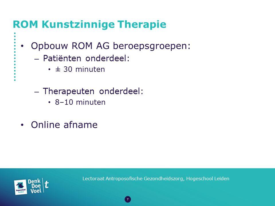 ROM Kunstzinnige Therapie Lectoraat Antroposofische Gezondheidszorg, Hogeschool Leiden Opbouw ROM AG beroepsgroepen: – Patiënten onderdeel: ± 30 minut