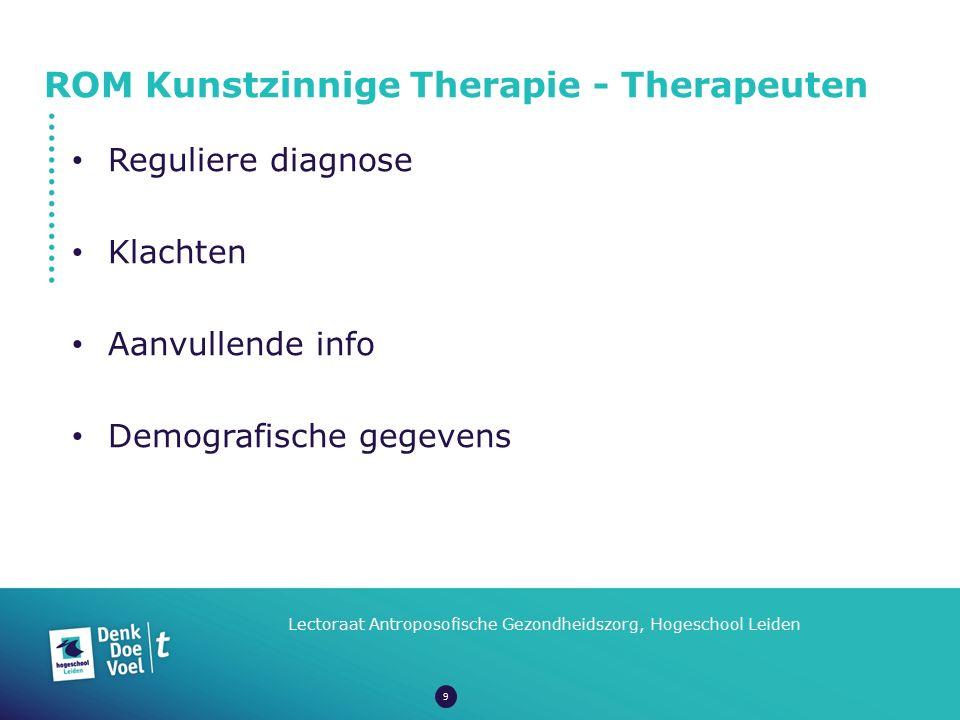 ROM Kunstzinnige Therapie - Therapeuten Lectoraat Antroposofische Gezondheidszorg, Hogeschool Leiden Reguliere diagnose Klachten Aanvullende info Demo
