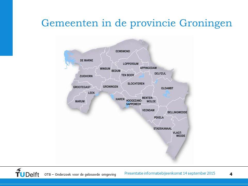 Presentatie informatiebijeenkomst 14 september 2015 OTB – Onderzoek voor de gebouwde omgeving 4 Gemeenten in de provincie Groningen