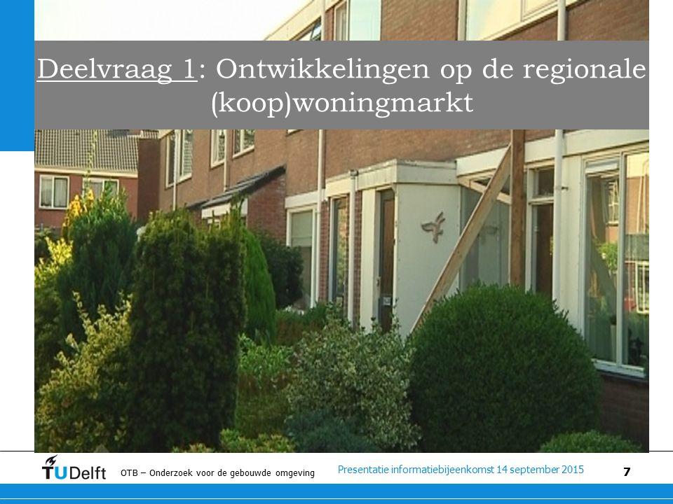 Presentatie informatiebijeenkomst 14 september 2015 OTB – Onderzoek voor de gebouwde omgeving 7 Deelvraag 1: Ontwikkelingen op de regionale (koop)woningmarkt