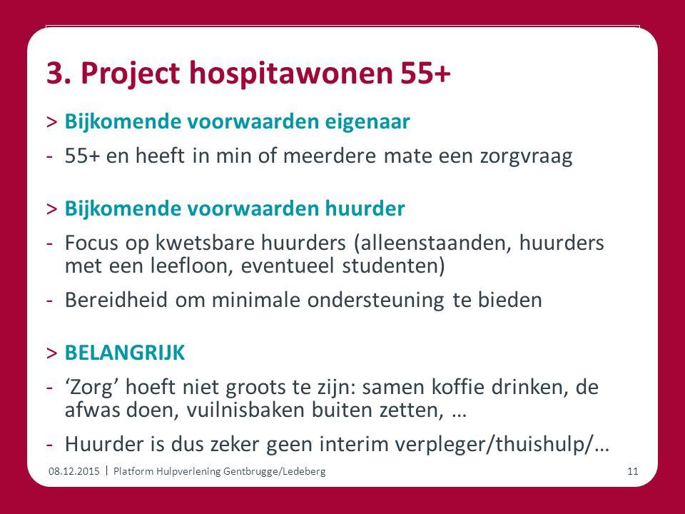 | 3. Project hospitawonen 55+ ˃Bijkomende voorwaarden eigenaar -55+ en heeft in min of meerdere mate een zorgvraag ˃Bijkomende voorwaarden huurder -Fo