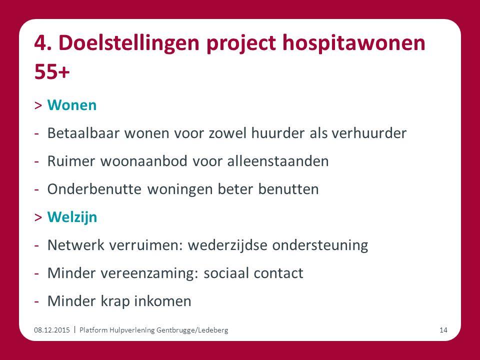 | 4. Doelstellingen project hospitawonen 55+ ˃Wonen -Betaalbaar wonen voor zowel huurder als verhuurder -Ruimer woonaanbod voor alleenstaanden -Onderb